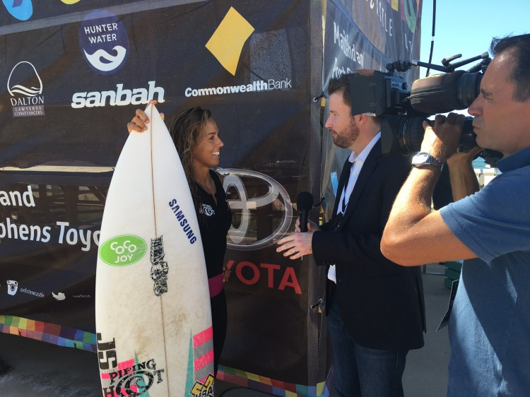 Sally Fitzgibbons being interviewed by Patrick Galloway for ABC News.